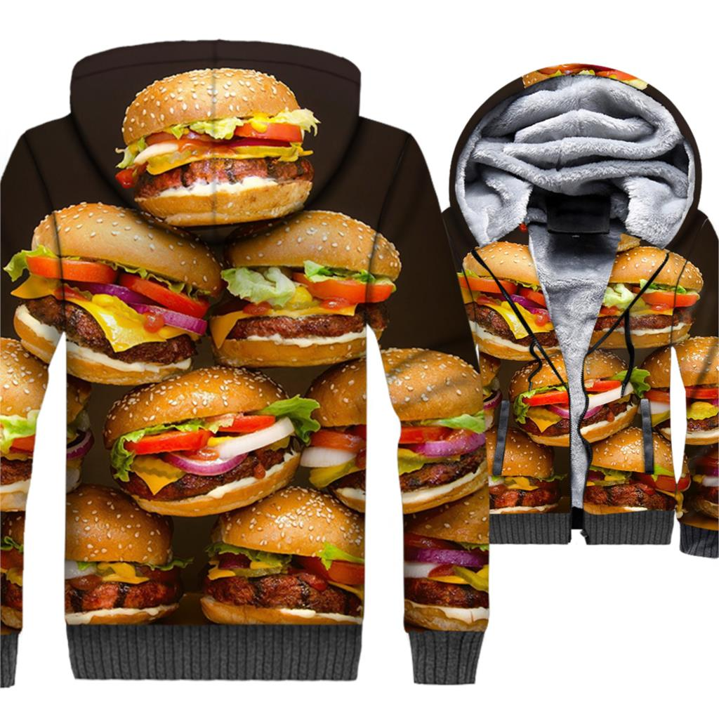 Funny 3D Foods Sweatshirts 2018 Winter Thick Men 39 s Hoodies Strawberry Cake Print Jacket For Men Hip Hop Unisex Tracksuit New Top in Hoodies amp Sweatshirts from Men 39 s Clothing