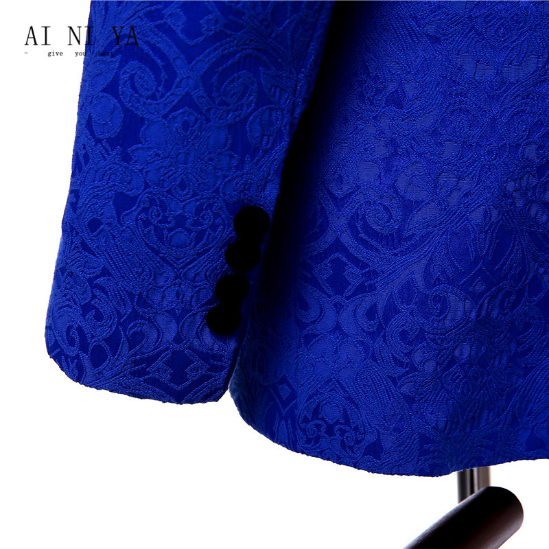 Suits & Sets Jacket+pants+vest Royal Blue Floral Womens Business Suits Slim Office Uniform Style Ladies Formal Work 3 Piece Suits Custom Made