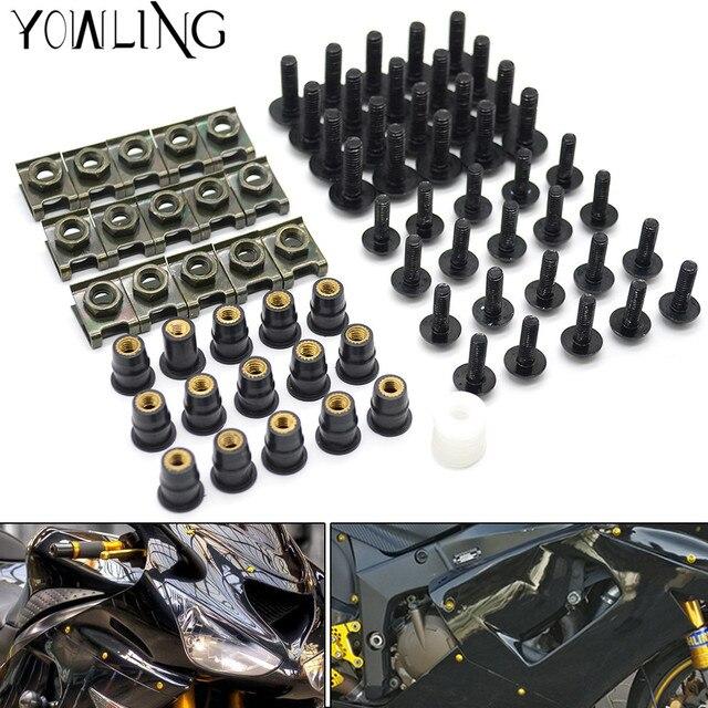 40 Uds tornillos de carenado para parabrisas de motocicleta tuercas tornillos Kit de arandela Clips de sujeción y tornillos para honda CBR 600 F2,F3,F4,F4i CBR600RR