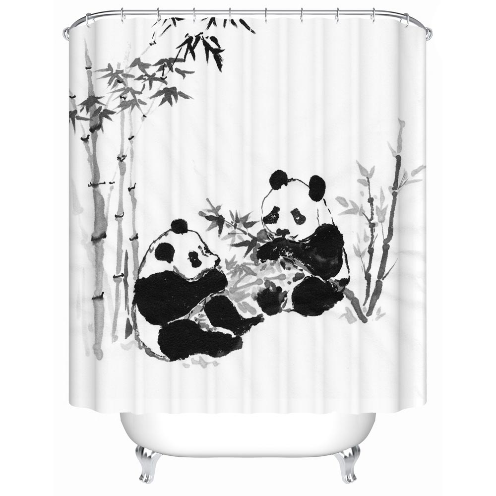 Chinese Classical Style Panda Shower Curtains Bathroom Curtain ...