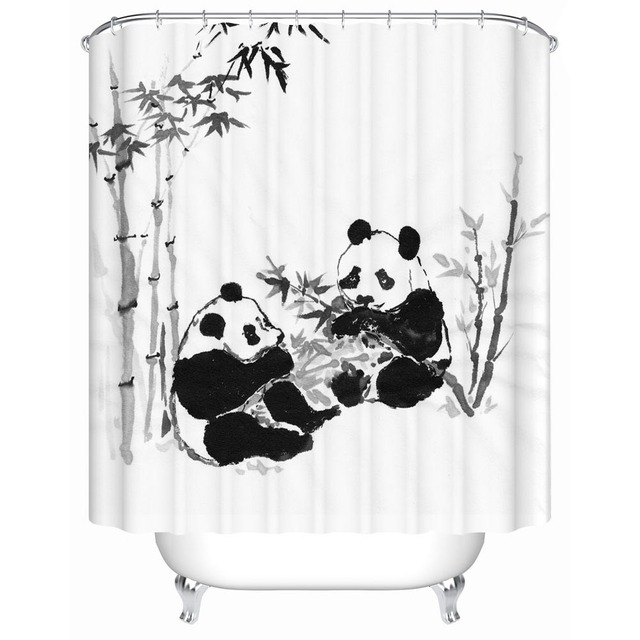 Chinese Classical Style Panda Shower Curtains Bathroom Curtain Products Waterproof Accessories Y 169