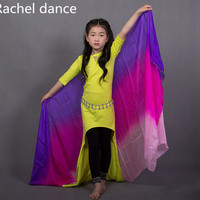 2017 New Arrival Kids Belly Dancing 100 Real Silk Veils Children Girl Stage Performance Show Hand
