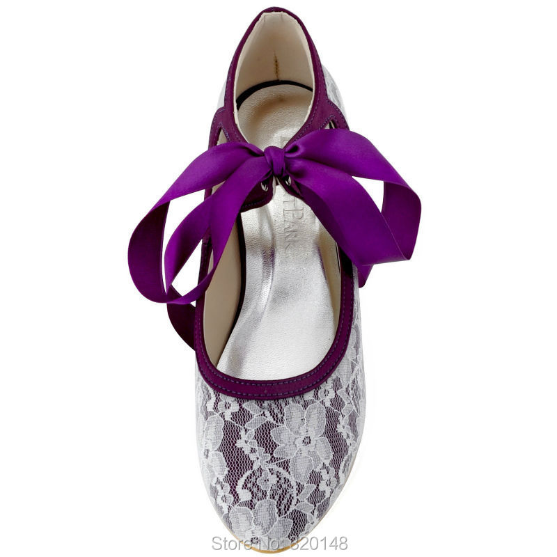 Woman Shoes Wedding Bridal Mid Heel Purple Black Mary Jane Lace Up ...