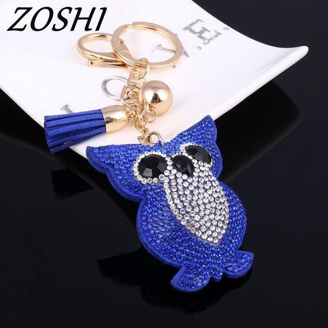 ZOSHI Dễ Thương Owl Keychain Rhinestone Pha Lê Keyring Móc Chìa Khóa Xe Phụ Nữ Vàng Key Chủ Nhẫn Bague 6 Màu Sắc Bán Buôn Đồ Trang Sức