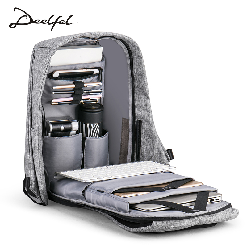 Deelfel Men Backpack15.6 inches Laptop Backpacks External USB Charge Backpack Computer Bag Large Capacity Women Bag Waterproof