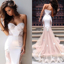 Sexy Sweetheart Sleeveless Mermaid Prom Dresses Vintage Lace Court Train Tulle Women Evening Dresses
