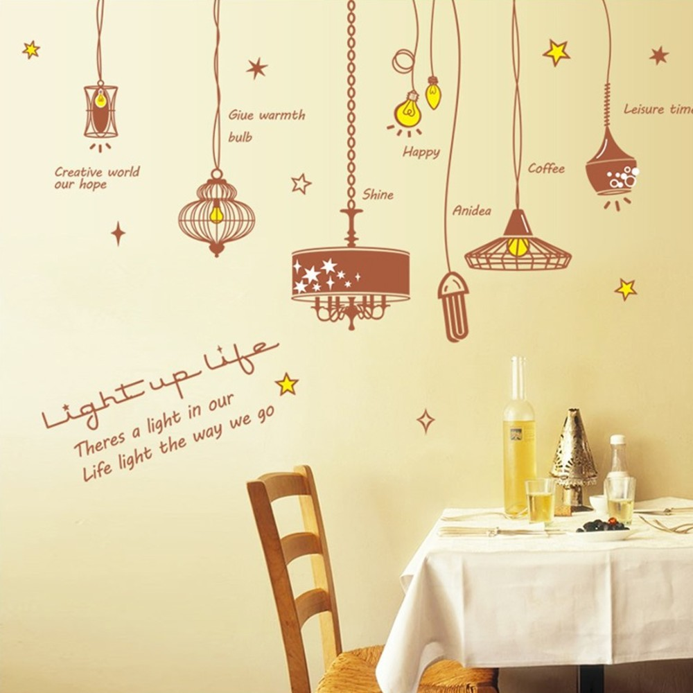 Chandeliers Light Bulbs Wall Sticker Paper DIY Home Decal Art Poster ...