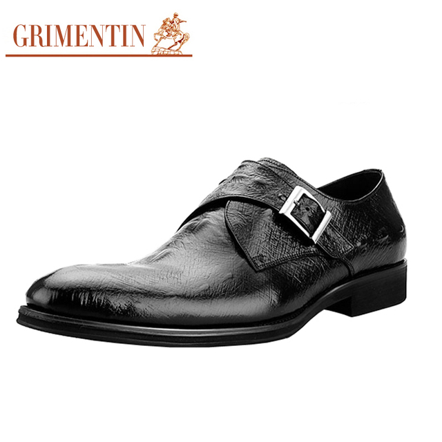 Men's Cow Leather Crocodile Pattern Monk Straps Shoes