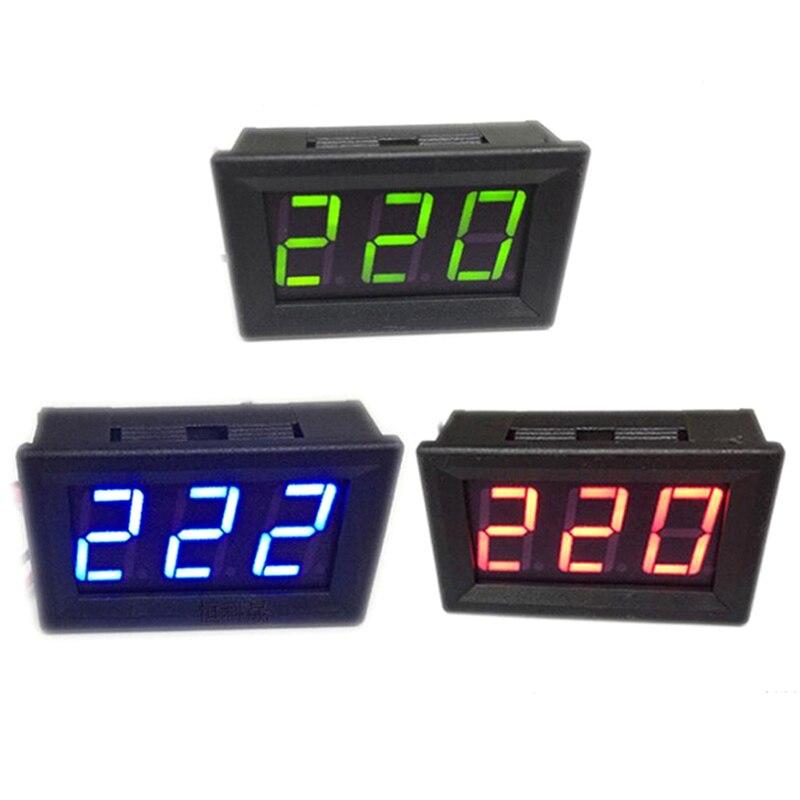 2PCS Mini AC 60-500V 3-Digital LED Voltmeter Panel Display Voltage Meter BLUE
