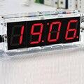 DIY Kit Красный СВЕТОДИОД Смотреть СВЕТОДИОДНЫЕ Часы Комплекты Прозрачный Корпус CR2025 Батарея Номера-Водонепроницаемый