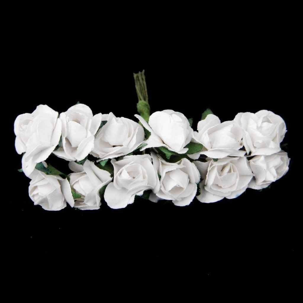 Uesh 12 بوكيه ورد صناعي صغير باقة في ورقة مستخلص براعم الزهور ديكور أبيض Artificial Rose Bouquet Rose Bouquetartificial Roses Aliexpress