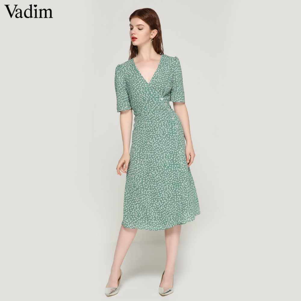 Vadim vintage floral print wrap dress V neck bow tie sashes short sleeve  female streetwear chic