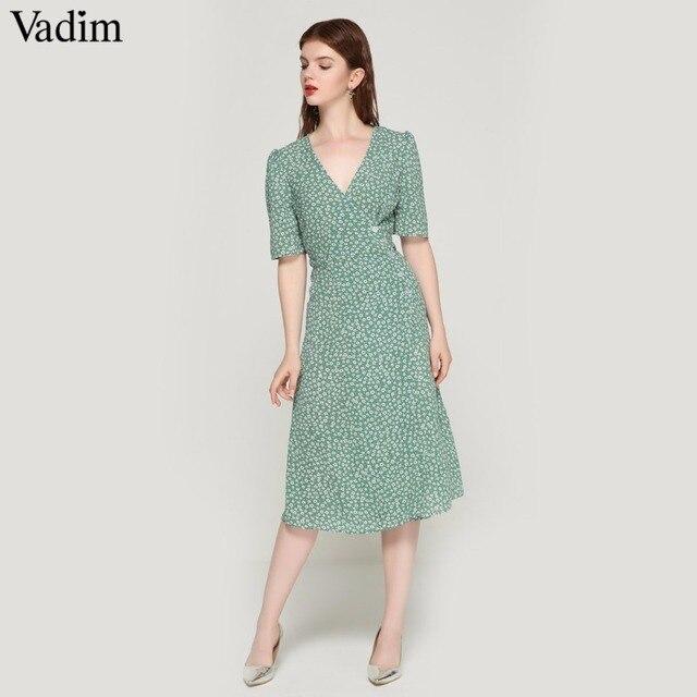 Vadim vintage imprimé floral wrap robe V cou bow tie ceintures à manches courtes femelle streetwear chic mi-mollet robes robes QA030