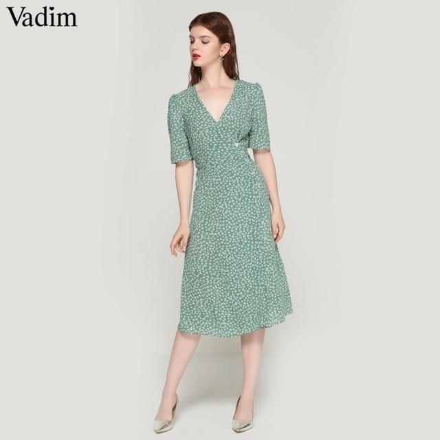 Vadim vintage imprimé floral wrap robe col en V noeud papillon ceintures manches courtes femme streetwear chic mi-mollet robes robes QA030