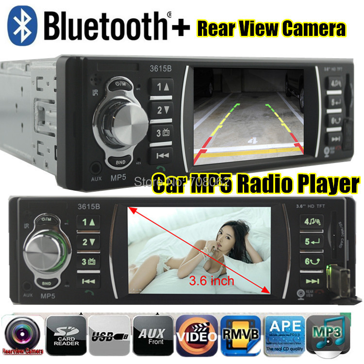 Car radio player bluetooth function Stereo MP5 3.6 inch TFT screen Support Rear Camera 12V Car Audio MP3 MP4 MP5 FM/USB/SD/MMC car mp5 player 12v car vedio radio 4 inch hdtft screen bluetooth rear view camera stereo fm radio mp4 mp5 audio video usb sd tft