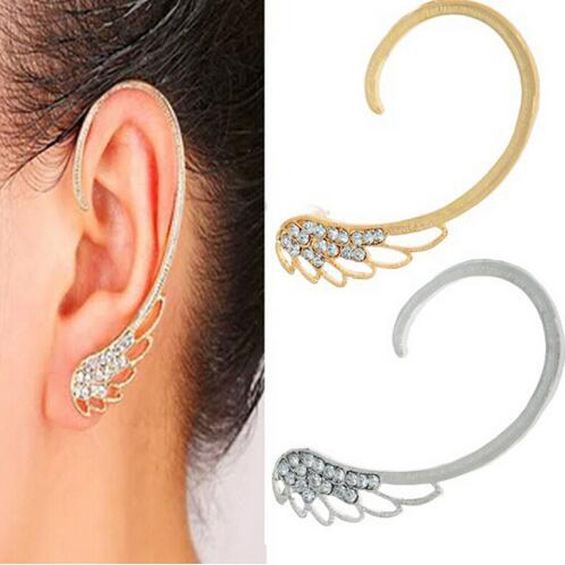 Νέο 1Pc Gothic Punk Crystal Rhinestone Angle Wing Ear Wrap Cuff - Κοσμήματα μόδας