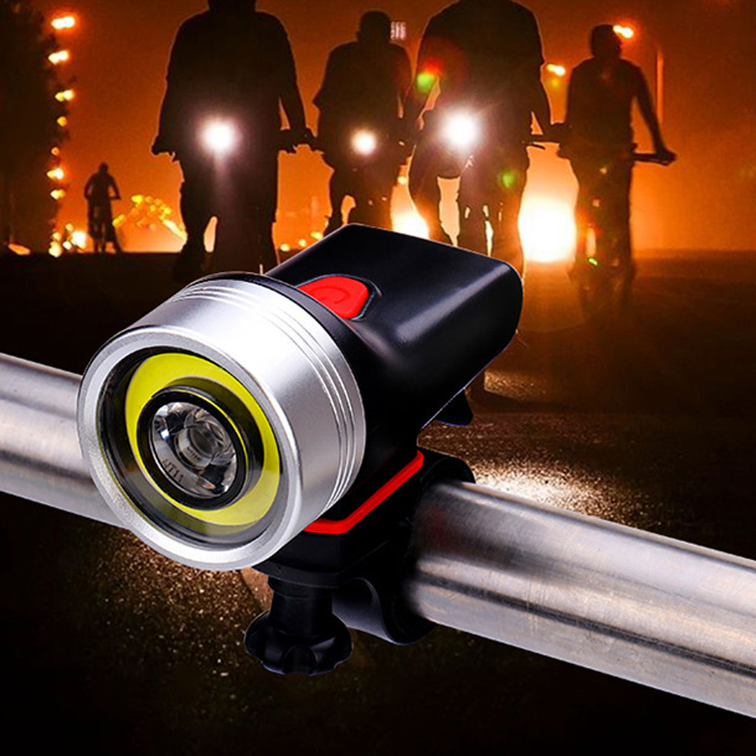 USB Rechargeable 500 Lumen Ultra-Bright Bike Light COB+XPE 4 Modes Adjustable Bicycle Front LED Flashlight Lamp Cycling Light