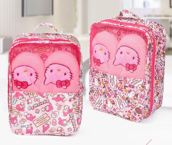 Wholesale 5 Pcs Canvas Cartoon Kid My Melody Home Travell Women Lady Shoe Storage Bag Organizer