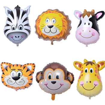 6pcs/lot Mini animal head Foil Balloons inflatable air balloon happy birthday party decorations kids baby shower party supplies animal head foil balloons tiger inflatable air balloon happy birthday party decoration helium balloon baby shower party supplies