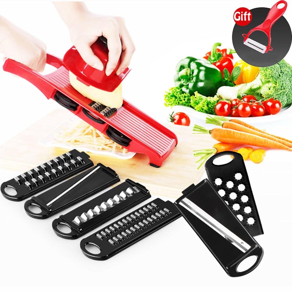 Multi-function 8 in 1 Plastic Vegetable Fruit Slicers Cutter Adjustable Stainless Steel Blades Grater Free Peeler Slicer KC1363