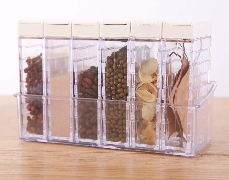 6 Box Seasoning Bottle Spice Jar Home Kitchen Condiment Storage Pot Cruet Container with Tray Holder for Sugar Salt|Salt Pigs  Cellars & Servers| |  - title=