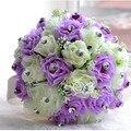 2016 Artificial Silk Rose Bridesmaid Wedding Flowers Crystal Bridal bouquet ramos buque de noiva Wedding Bouquet FW45