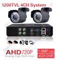 $ NUMBER CANALES AHD AHD CCTV Sistema de 4 Canales DVR Sistema de Seguridad Vigilancia 1200TVL Warterproof Visión Nocturna IR-CUT IR Cámara DIY Kit de