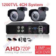 2CH Системы ВИДЕОНАБЛЮДЕНИЯ 4 Канала AHD AHD DVR Наблюдения Системы Безопасности 1200TVL Warterproof Ночного Видения ИК-ИК-Камеры DIY Kit