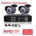 2CH Sistema De CFTV 4 Canais AHD AHD DVR Sistemas de Segurança Vigilância 1200TVL Warterproof Night Vision IR-CUT IR Camera Kit DIY