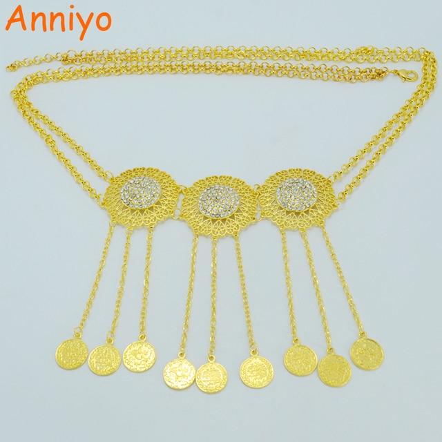 Anniyo Length 102cm Turkey Coin Belt Gold Color Arab Belly Jewelry Kurdistan Wedding Gift Middle