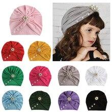 Cute Infant Newborn Caps with Rhinestone Cotton Blend Kont Turban Girls Stretchy Beanie Hat Head Wear Baby Hair Accessories