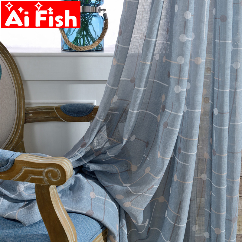 Traditional Chinese New Design Checkerboard  Sheer Curtains Simple Living Room Curtains Print Plaid Bedroom Tulle Drape WP041-40