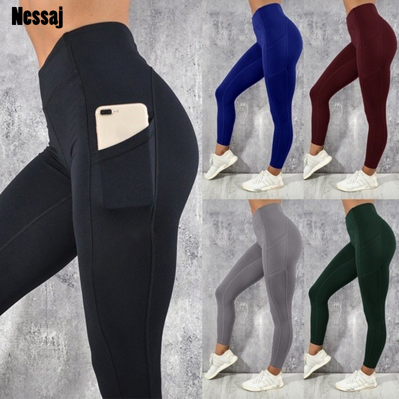 Nessaj 5 Colors Athleisure Sexy Women   Leggings   With Pocket Push Up Pants Workout Fitness Elastic Solid Color Skinny   Leggings