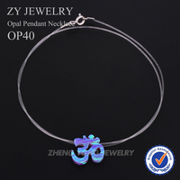 Hot Sale Omicon Necklace OP40/15.2x14.2mm Synthetic Opal Pendant Rhodium Plated Necklace For Gift