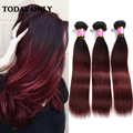 Christmas Deals 10A Grade Brazilian Virgin Hair Straight Burgundy Ombre Brazilian Hair Weave Bundles Brazillian Straight Hair