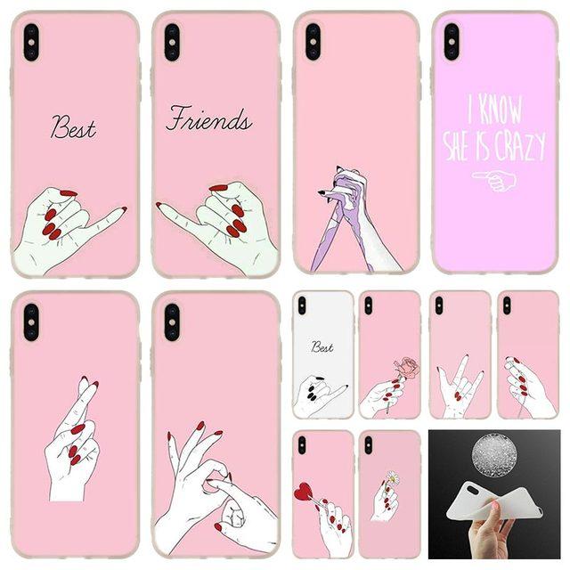 Para o iphone x namorado Namorada presente Melhor Amigo Shopping girl Phone Case capa Para iphone 4 5 5S SE 6 7 8 6 s Plus XR XS Max