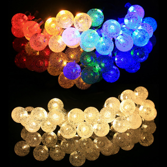 6M /20Ft 30LED String Fairy Light Solar Powered Bubble Ball Shaped Waterproof Outdoor Garden Christmas Wedding Decoration