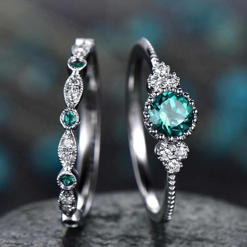 2Pcs/Set 2019 Luxury Green Blue Stone Crystal Rings For Women Sliver Color Wedding Engagement Rings Jewelry