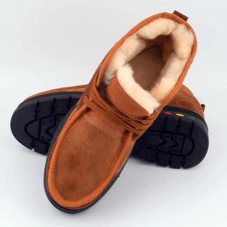 Mannelijke Katoenen schoenen mannen winter warme snowboots bont in een stuk natuurlijke schapen bont laarzen middelbare leeftijd vader schoenen outdoor anti-slip