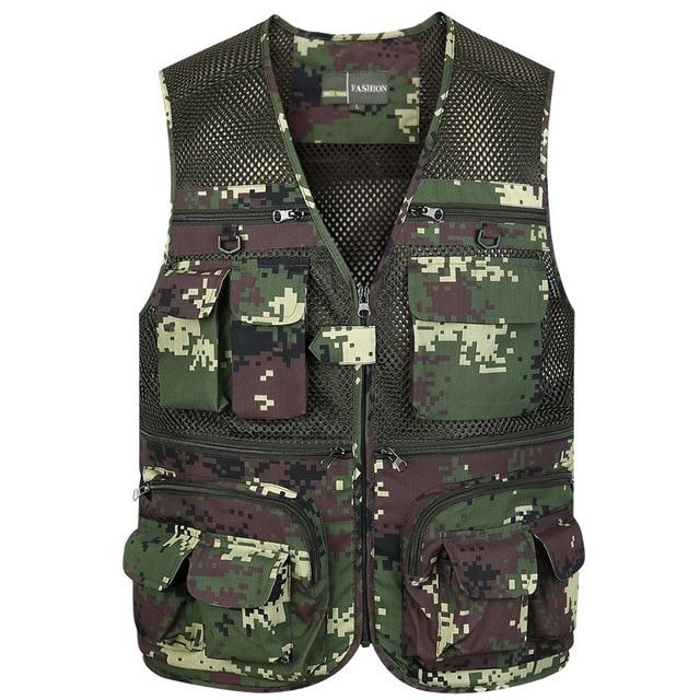 super populaire 52688 a85e1 € 18.27 29% de réduction|Été coton militaire tactique maille gilet hommes  respirant Multi poches gilet tir gilet sans manches veste armée manteau-in  ...