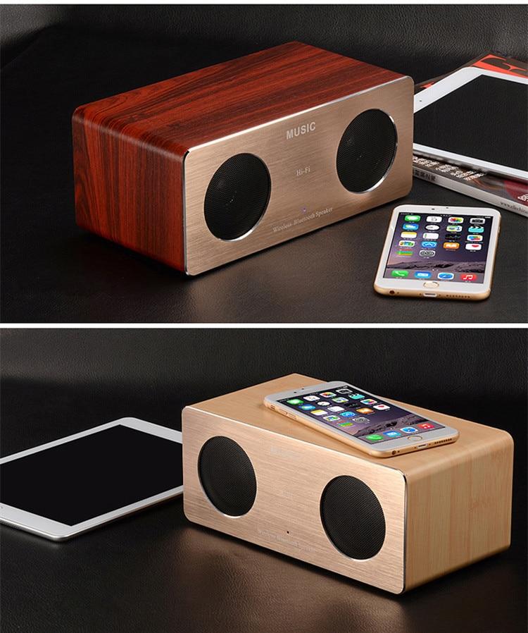 Fashion Wooden HIFI Bluetooth Stereo Speaker High-fidelity Surround Sound Dual Speakers Mini Wireless Speaker USB Wood Speaker