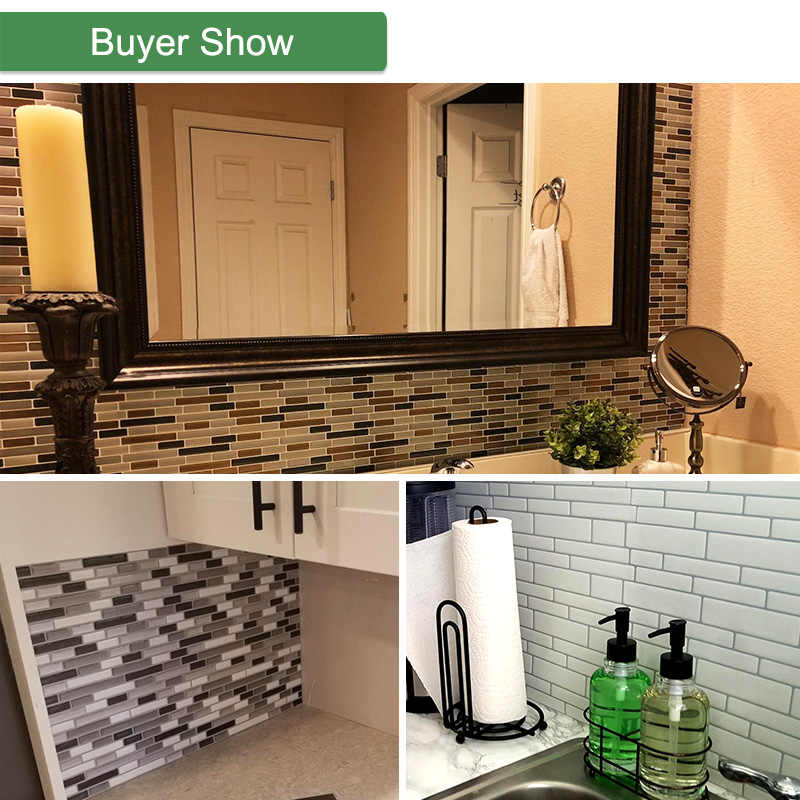 = (K) = 3D Diri Perekat Ubin Mosaik Tahan Air Stiker Dinding DIY Crystal Dapur Wallpaper Bata Dekorasi Stiker untuk Ruang Tamu
