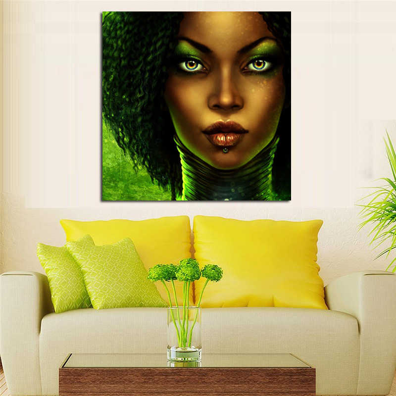 Black Cartoon Characters Abstract Face Paintings Print African Woman Canvas Painting Black Woman Face African Art