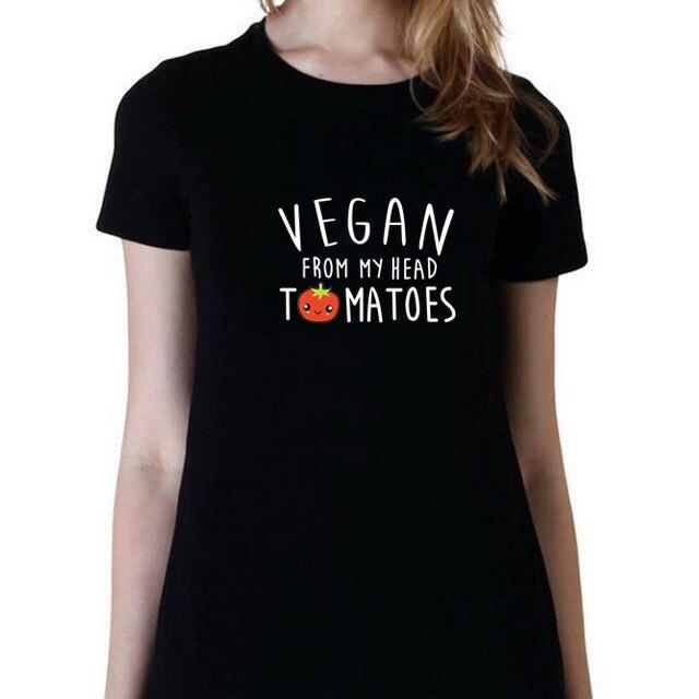 SexeMara VEGAN T-Shirt VEGAN FROM MY HEAD T-Shirt Tomatoes Cute Women Men' Unisex T-Shirt Vegetarian 18 New Design 23