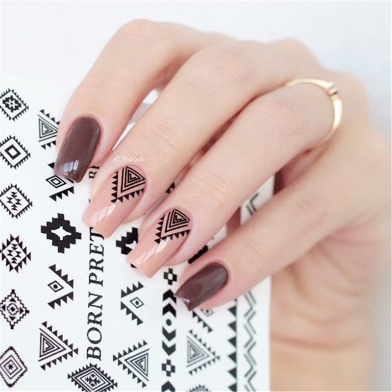2 Patterns Sheet BORN PRETTY Triangle Diamond Shape Nail Art Water Decals Transfer Sticker BPY05