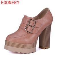 EGONERY Shoes 2017 Punk Style Women Fashion Retro Pumps Spring And Autumn Classic Buckles Casual Round