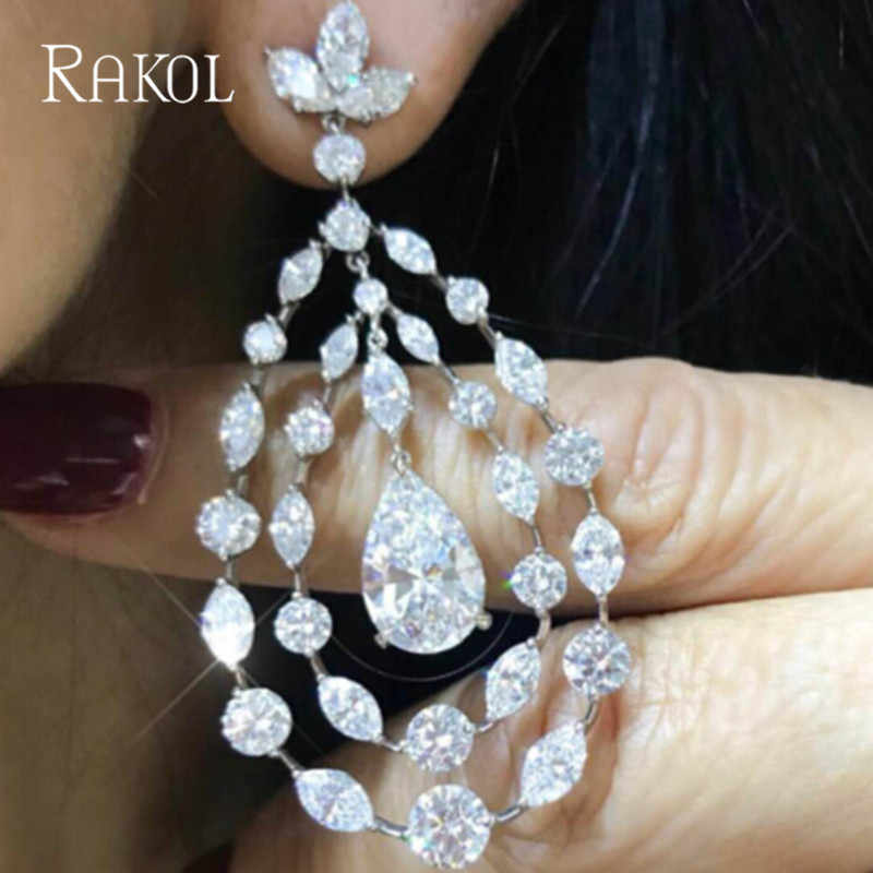 RAKOL Elegant Big Water Drop Cubic Zircon Crystal Bridal Drop Earrings For Women Wedding Accessories Jewelry RE02071K