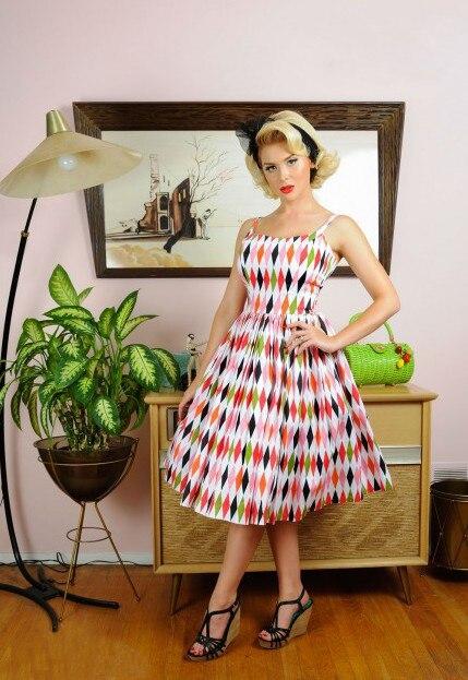 Robe Arlequin As Rockabilly Dans Gaine Jurken 1950 Courroie Jenny femmes Taille Show up Grande Pin 40 Vintage Halter De Balançoire 60's 0BnvYqwBHz