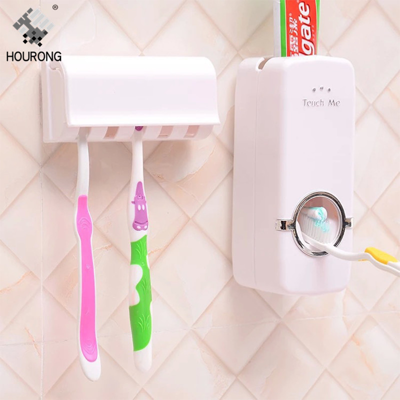 1set Automatic Toothpaste Dispenser Toothbrush Holder Wall Mount Tooth brush Storage Rack Organizer Bathroom Accessories Set image