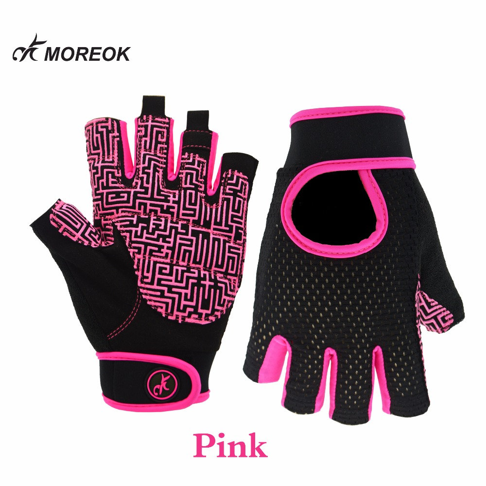 MOREOK Lycra Gym Fitness Workout Weight LLifting Gloves Breathable Anti-slip Plam With Adjustable Strap